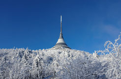 Jested with trees in winter. Transmitter and hotel on Jested during winter Stock Photos