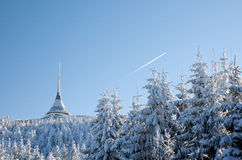 Jested TV tower in winter. Winter view on a TV tower on Jested, Czech Republic Royalty Free Stock Image