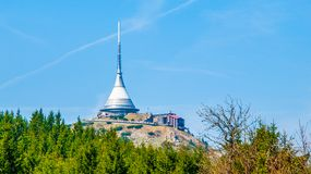 Jested - unique architectural building. Hotel and TV transmitter on the top of Jested Mountain, Liberec, Czech Republic.  Royalty Free Stock Photography