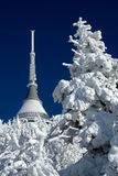 Jested in winter. Transmitter and hotel on Jested during winter. Liberec - Czech Republic Royalty Free Stock Photos