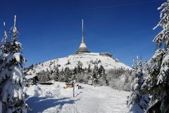 Jested in winter. Czech Republic - Liberec - transmitter Jested in winter Stock Image