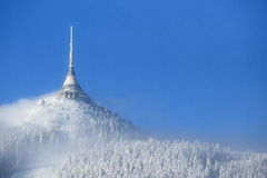 Jested in winter. TV tower Jested in winter. Liberec, Czech Republic Royalty Free Stock Images
