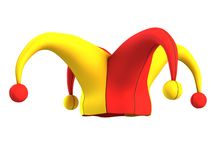 Jester καπέλο που απομονώνεται στο λευκό Στοκ εικόνα με δικαίωμα ελεύθερης χρήσης