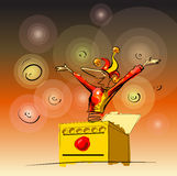 Jester. A jester poping out og a box. Vecot illustration in sketchy loose style royalty free illustration