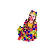 Jester. Young girl as jester on white background Royalty Free Stock Photos