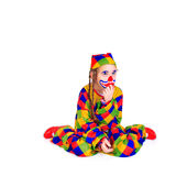Jester. Young girl as jester on white background Royalty Free Stock Image