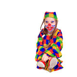 Jester. Young girl as jester on white background Royalty Free Stock Photo