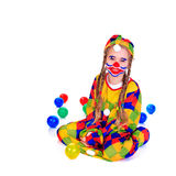 Jester. Young girl as jester on white background Stock Images