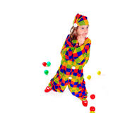 Jester. Young girl as jester on white background Royalty Free Stock Photography