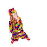 Jester. Young girl as jester on white background Royalty Free Stock Images