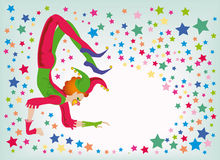 Jester-acrobat. Background to the holiday of laughter, All Fools' Day Royalty Free Stock Image