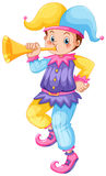 Jester blowing golden trumpet Royalty Free Stock Photo