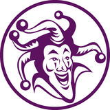 Jester clown enclosed in circle. Illustration of a jester enclosed in circle on white vector illustration