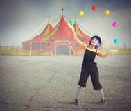Jester clown. In front of circus tent Royalty Free Stock Photography