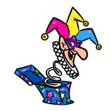 Jester doll box surprise cartoon illustration Stock Images
