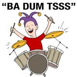 Jester Drummer Rimshot Drum Roll Punchline Cartoon. An image of a Jester Drummer Rimshot Drum Roll Punchline Cartoon Stock Photos
