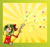 Jester girl with firecrackers. Invitation card with the clown girl and firecrackers. Vector illustration Stock Photos