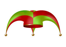 Jester hat. In green and red design isolated on white background Stock Images