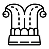 Jester hat icon, outline style stock illustration