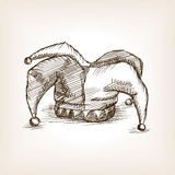 Jester hat sketch style vector illustration Royalty Free Stock Photos