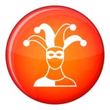 Jester icon, flat style Royalty Free Stock Photography