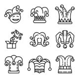 Jester icon set, outline style vector illustration
