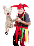 Jester with a puppet Stock Photography