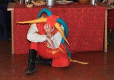 Jester sitting on floor Royalty Free Stock Photos