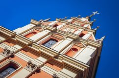 Warsaw Old Town. Jesuit Church alos called Church of the Gracious Mother of God on the Old Town of Warsaw city, Poland royalty free stock image