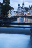 Jesuit Church and Reuss River. Lucerne, Switzerland Royalty Free Stock Photography
