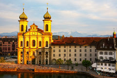 Jesuit church by the Reuss river in Lucerne Stock Image