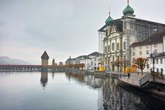 Jesuit Church and The Reuss River, Luzern, Switzerland Stock Image