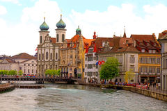 Jesuit Church and waterfront , Lucerne, Switzerland Royalty Free Stock Image