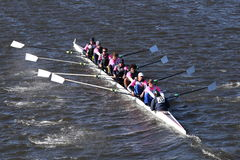Jesuit College Prep of Dallas Crew races in the Head of Charles Regatta Men`s Youth Eight Stock Image