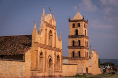 Jesuit Mission in San Jose de Chiquitos, Bolivia. Chapel, church and bell tower at the UNESCO World Heritage Jesuit Mission in San Jose de Chiquitos, Bolivia Stock Photos