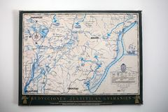 Jesuit Missions map in South America. Jesuit Missions map in Argentina, Brazil,Paraguay and Uruguay, South America. Jesuit reduction was a type of settlement for royalty free stock photo