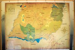Jesuit Missions map in South America. Jesuit Missions map in Argentina, Brazil,Paraguay and Uruguay, South America. Jesuit reduction was a type of settlement for royalty free stock photos