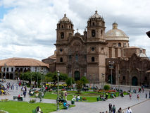 Jesuit temple - Company of Jesus. In Cuzco and Plaza de Armas Stock Images