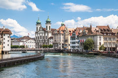 Jesuitenkirche (church) on the river side of Reuss Royalty Free Stock Image