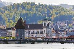 Jesuitkyrka i Lucerne, Schweiz Arkivbild