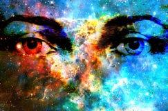 Jesus öga i kosmiskt utrymme datorcollageversion royaltyfria bilder