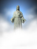 Jesus. Statue, lower part in white color, great for placing text Royalty Free Stock Photography