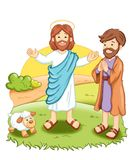 Jesus. Color digital illustration of Jesus that blesses men and animals Royalty Free Stock Images