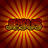 Jesus. Retro graphics Christian illustration theme with shining Jesus name and stripes Vector Illustration