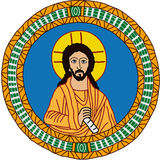 Jesus. Picture of Jesus in a circular frame Stock Photography