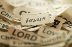 Jesus. Picture of a religious concept with focus on word Jesus Royalty Free Stock Images