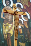 Jesus. On a cross with religion picture background Stock Images