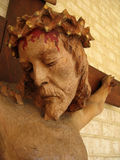 Jesus. Close up of a wood carving of Jesus Christ on the crucifix Royalty Free Stock Images
