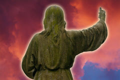 Jesus. Memorial with a red sky. Made with Photoshop Royalty Free Stock Photography