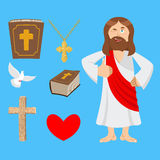 Jesus and accessories. Holy biblical set. Son of God and Bible. Royalty Free Stock Photography